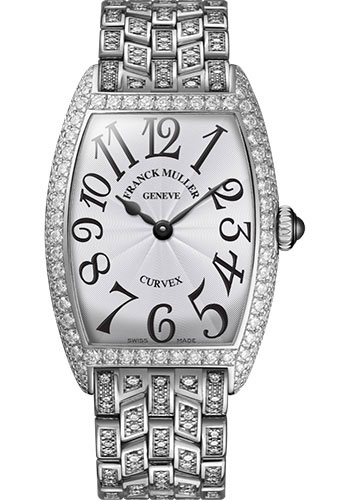 Franck Muller Watches - Cintre Curvex - Quartz - 29 mm Platinum - Dia Case - Full Dia Bracelet - Style No: 7502 QZ D F PT White