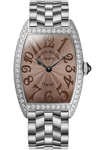 Franck Muller Watches - Cintre Curvex - Quartz - 29 mm Platinum - Dia Case - Bracelet - Style No: 7502 QZ D O PT Chocolate