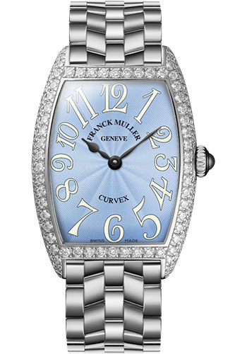 Franck Muller Watches - Cintre Curvex - Quartz - 29 mm Platinum - Dia Case - Bracelet - Style No: 7502 QZ D O PT Pastel Blue