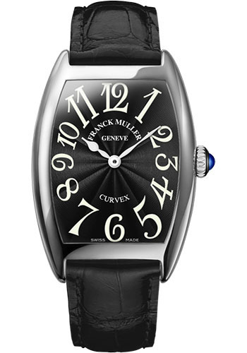 Franck Muller Watches - Cintre Curvex - Quartz - 29 mm Platinum - Strap - Style No: 7502 QZ PT Black