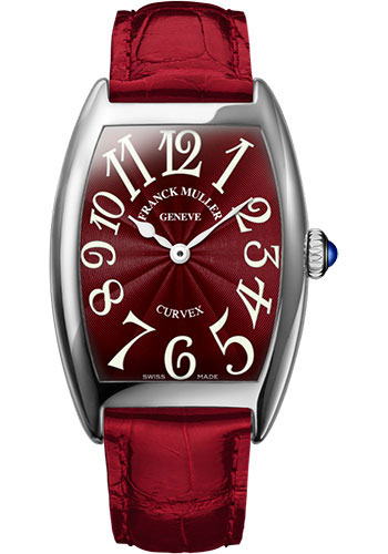 Franck Muller Watches - Cintre Curvex - Quartz - 29 mm Platinum - Strap - Style No: 7502 QZ PT Red