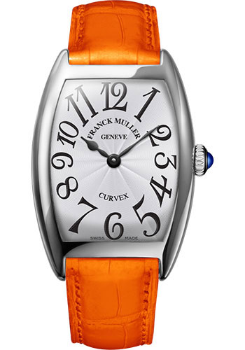 Franck Muller Watches - Cintre Curvex - Quartz - 29 mm Platinum - Strap - Style No: 7502 QZ PT White Orange