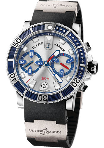 Ulysse Nardin Watches - Marine Diver Chronograph 42.7mm - Stainless Steel - Rubber Strap - Style No: 8003-102-3/91