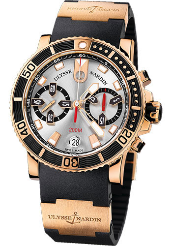 Ulysse Nardin Watches - Marine Diver Chronograph 42.7mm - Rose Gold - Rubber Strap - Style No: 8006-102-3A/91