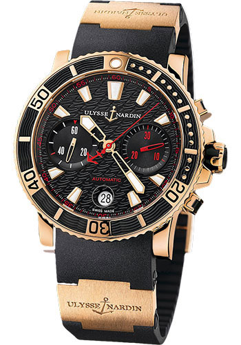 Ulysse Nardin Watches - Marine Diver Chronograph 42.7mm - Rose Gold - Rubber Strap - Style No: 8006-102-3A/926