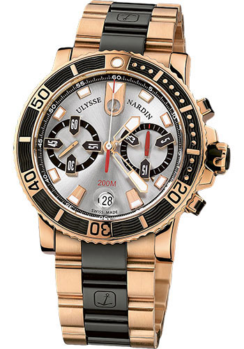 Ulysse Nardin Watches - Marine Diver Chronograph 42.7mm - Rose Gold - Bracelet - Style No: 8006-102-8C/91