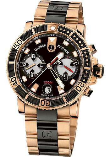 Ulysse Nardin Watches - Marine Diver Chronograph 42.7mm - Rose Gold - Bracelet - Style No: 8006-102-8C/92