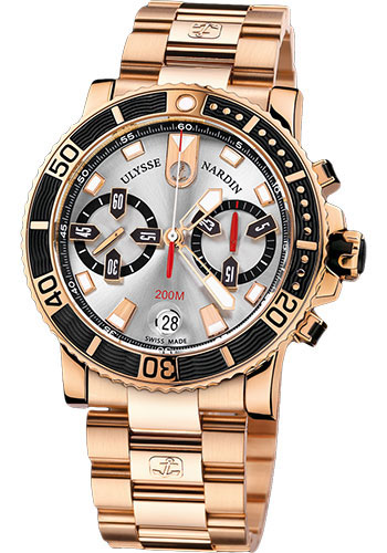 Ulysse Nardin Watches - Marine Diver Chronograph 42.7mm - Rose Gold - Bracelet - Style No: 8006-102-8M/91