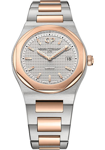 Girard-Perregaux Watches - Laureato 34 mm - Steel and Pink Gold - Style No: 80189-56-132-56A