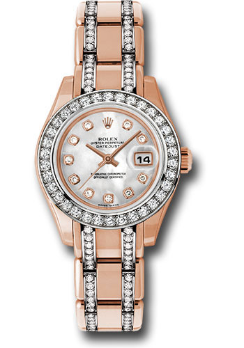 Rolex Watches - Datejust Pearlmaster Lady Everose Gold - 34 Diamond Bezel - Style No: 80285.74945 md