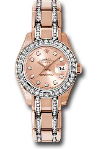 Rolex Watches - Datejust Pearlmaster Lady Everose Gold - 34 Diamond Bezel - Style No: 80285.74945 pchd