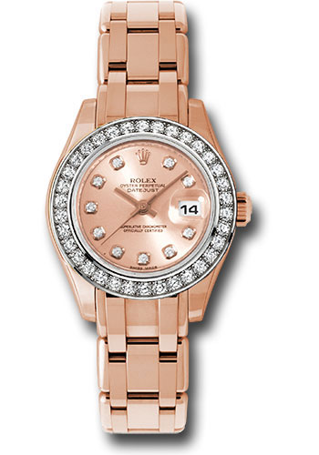 Rolex Watches - Datejust Pearlmaster Lady Everose Gold - 34 Diamond Bezel - Style No: 80285 pchd