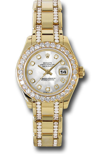 Rolex Watches - Datejust Pearlmaster Lady Yellow Gold - 32 Diamond Bezel - Style No: 80298.74948 md