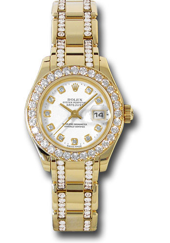 Rolex Watches - Datejust Pearlmaster Lady Yellow Gold - 32 Diamond Bezel - Style No: 80298.74948 wd