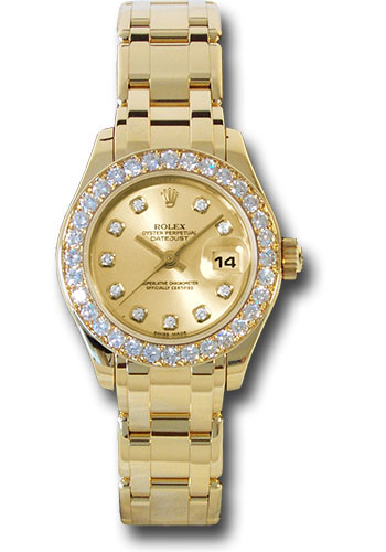 Rolex Yellow Gold Lady,Datejust Pearlmaster 29 Watch , 32 Diamond Bezel ,  Champagne Diamond Dial , 80298 chd