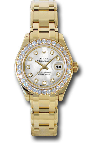 Rolex Watches - Datejust Pearlmaster Lady Yellow Gold - 32 Diamond Bezel - Style No: 80298 md