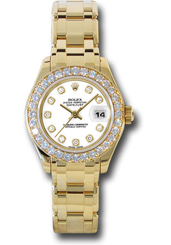 Rolex Watches - Datejust Pearlmaster Lady Yellow Gold - 32 Diamond Bezel - Style No: 80298 wd