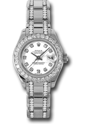 Rolex Watches - Datejust Pearlmaster Lady White Gold - 32 Diamond Bezel - Style No: 80299.74949 wd