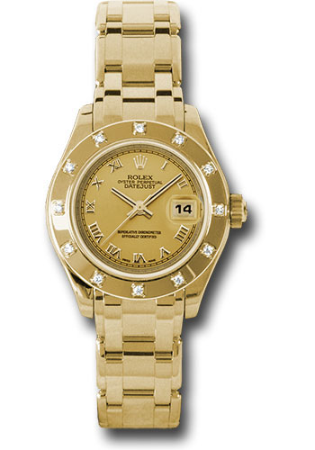 Rolex Watches - Datejust Pearlmaster Lady Yellow Gold - 12 Diamond Bezel - Style No: 80318 chr