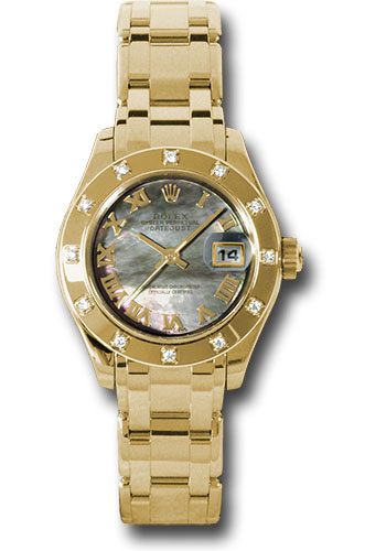 Rolex Watches - Datejust Pearlmaster Lady Yellow Gold - 12 Diamond Bezel - Style No: 80318 dkmr