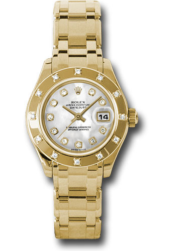 Rolex Watches - Datejust Pearlmaster Lady Yellow Gold - 12 Diamond Bezel - Style No: 80318 md