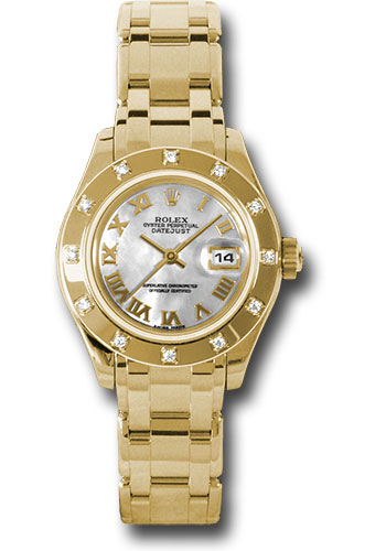 Rolex Watches - Datejust Pearlmaster Lady Yellow Gold - 12 Diamond Bezel - Style No: 80318 mr