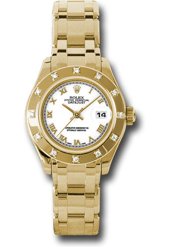 Rolex Watches - Datejust Pearlmaster Lady Yellow Gold - 12 Diamond Bezel - Style No: 80318 wr