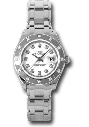 Pre-Owned Rolex Watches - Datejust Pearlmaster Lady White Gold - 12 Diamond Bezel - Style No: V80319 wd