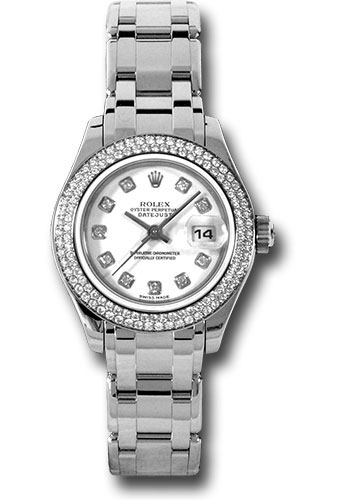 Rolex Watches - Datejust Pearlmaster Lady White Gold - 116 Diamond Bezel - Style No: 80339 wd