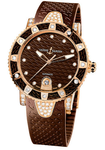 Ulysse Nardin Watches - Marine Diver Lady 40mm - Rose Gold - Style No: 8106-101E-3C/15