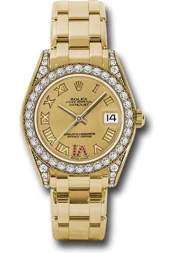 Rolex Watches - Datejust Pearlmaster 34 Yellow Gold - 34 Diamond Bezel - Diamond Lugs - Style No: 81158 chrr
