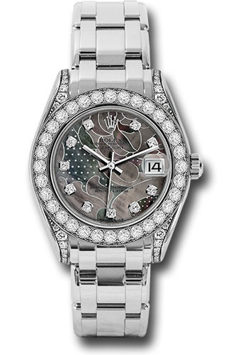 Rolex Watches - Datejust Pearlmaster 34 White Gold - 34 Diamond Bezel - Diamond Lugs - Style No: 81159 gdd