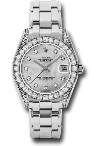 Rolex Watches - Datejust Pearlmaster 34 White Gold - 34 Diamond Bezel - Diamond Lugs - Style No: 81159 md