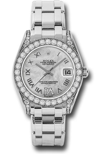 Rolex Watches - Datejust Pearlmaster 34 White Gold - 34 Diamond Bezel - Diamond Lugs - Style No: 81159 mdr