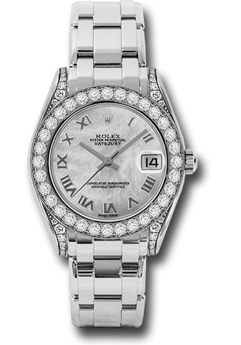 Rolex Watches - Datejust Pearlmaster 34 White Gold - 34 Diamond Bezel - Diamond Lugs - Style No: 81159 mr