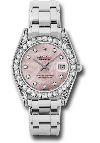 Rolex Watches - Datejust Pearlmaster 34 White Gold - 34 Diamond Bezel - Diamond Lugs - Style No: 81159 pmd