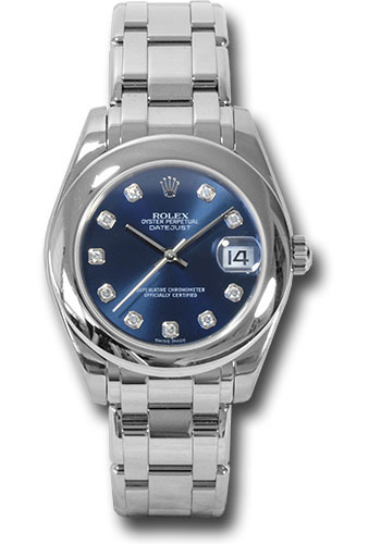 Rolex White Gold Datejust Pearlmaster 34 Watch Domed Bezel Blue Diamond Dial 81209 Bd
