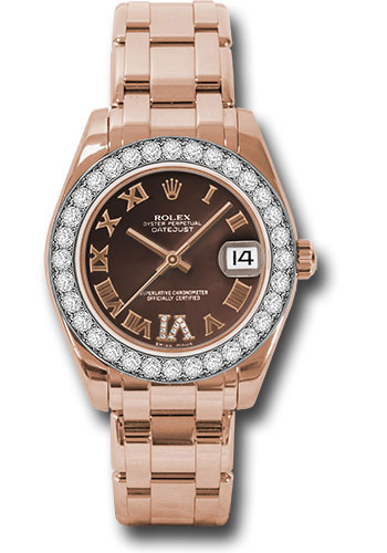 Rolex Watches - Datejust Pearlmaster 34 Everose Gold - 32 Diamond Bezel - Style No: 81285 chodrp