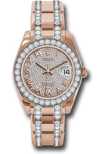 Rolex Watches - Datejust Pearlmaster 34 Everose Gold - 32 Diamond Bezel - Diamond Bracelet - Style No: 81285 dprdp