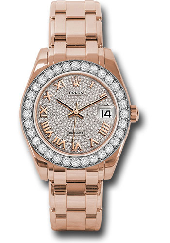 Rolex Watches - Datejust Pearlmaster 34 Everose Gold - 32 Diamond Bezel - Style No: 81285 dprp