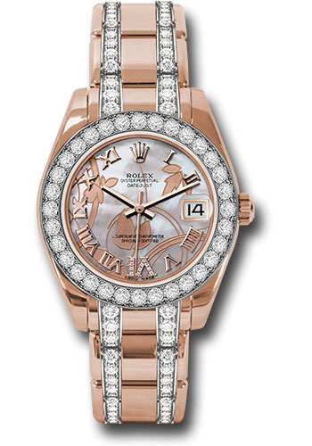 Rolex Watches - Datejust Pearlmaster 34 Everose Gold - 32 Diamond Bezel - Diamond Bracelet - Style No: 81285 gdddrdp
