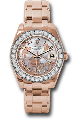 Rolex Watches - Datejust Pearlmaster 34 Everose Gold - 32 Diamond Bezel - Style No: 81285 gdddrp