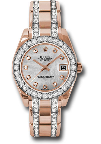Rolex Watches - Datejust Pearlmaster 34 Everose Gold - 32 Diamond Bezel - Diamond Bracelet - Style No: 81285 mddp