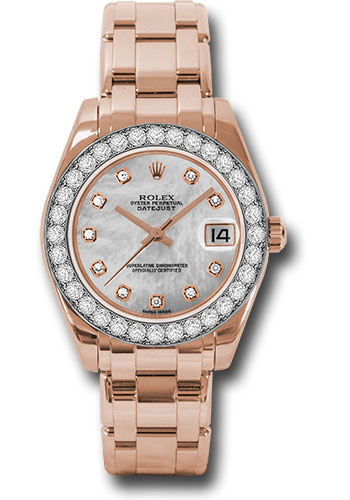 Rolex Watches - Datejust Pearlmaster 34 Everose Gold - 32 Diamond Bezel - Style No: 81285 mdp