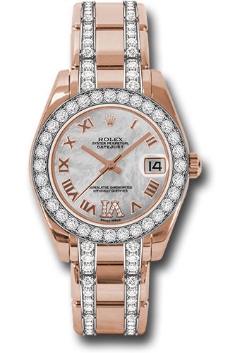 Rolex Watches - Datejust Pearlmaster 34 Everose Gold - 32 Diamond Bezel - Diamond Bracelet - Style No: 81285 mdrdp