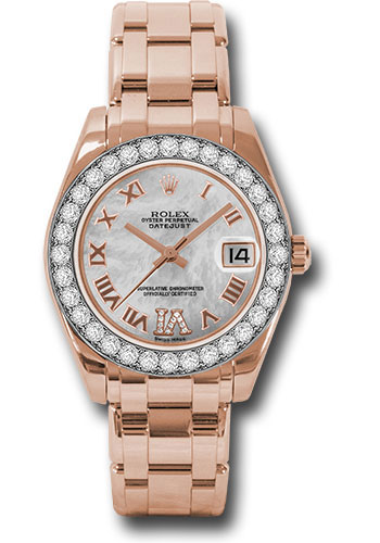 Rolex Watches - Datejust Pearlmaster 34 Everose Gold - 32 Diamond Bezel - Style No: 81285 mdrp