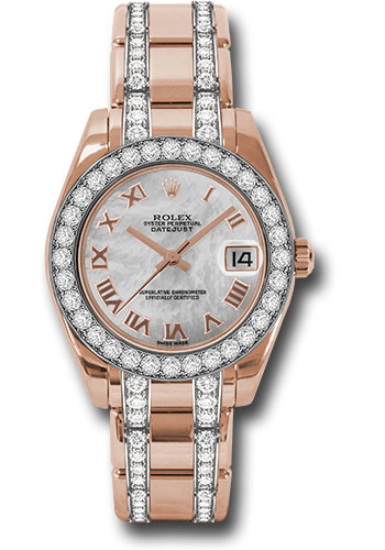 Rolex Watches - Datejust Pearlmaster 34 Everose Gold - 32 Diamond Bezel - Diamond Bracelet - Style No: 81285 mrdp