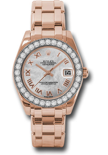 Rolex Watches - Datejust Pearlmaster 34 Everose Gold - 32 Diamond Bezel - Style No: 81285 mrp