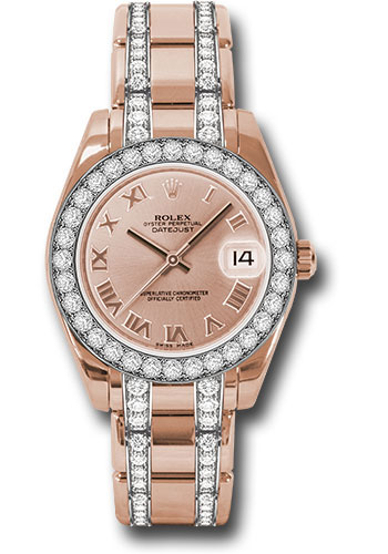 Rolex Watches - Datejust Pearlmaster 34 Everose Gold - 32 Diamond Bezel - Diamond Bracelet - Style No: 81285 prdp