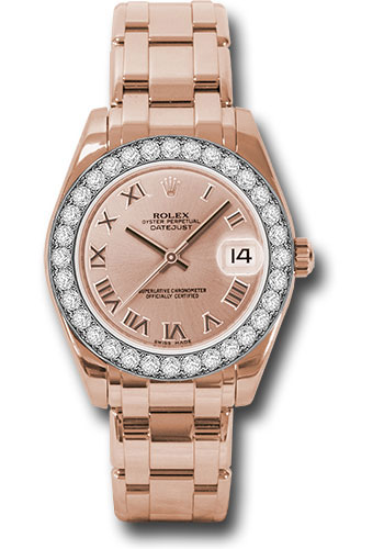 Rolex Watches - Datejust Pearlmaster 34 Everose Gold - 32 Diamond Bezel - Style No: 81285 prp